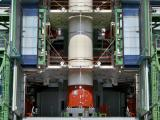 Core Stage of PSLV-C37 integrated on to Launch Pedestal
