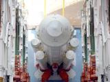 PSLV-C37 First Stage integrated at Vehicle Assembly Building