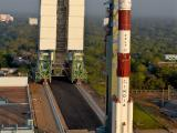 Fully integrated PSLV-C37 seen with Mobile Service Tower
