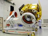 Mars Orbiter Mission spacecraft being prepared for a prelaunch test at Satish Dhawan Space Centre SHAR, Srihairkota
