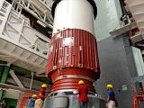 PSLV-C25 First Stage Nozzle End Segment being placed on the launch pedestal
