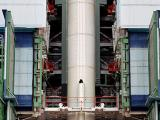 Fully integrated first stage of PSLV-C25 in the Mobile Service Tower