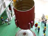 Hoisting of an interstage of PSLV-C25 during vehicle integration