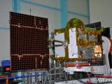 IRNSS-1E Spacecraft undergoing Solar Panel Deployment test