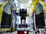 IRNSS-1E spacecraft integrated with PSLV-C31 with two halves of the heat shields seen