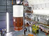 Placement of Nozzle End Segment of PSLV-C31 First Stage over Launch Pedestal in progress