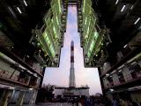 Fully integrated PSLV-C32 with IRNSS-1F being moved out of Vehicle assembly building