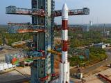 Fully integrated PSLV-C32 with IRNSS-1F at Second Launch Pad