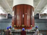 Placement of Nozzle End Segment of PSLV-C32 1st stage over Launch Pedestal in progress
