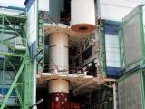 Integration Of PSLV-C23 First Stage Segments In Progress Inside Mobile Service Tower