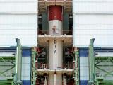 Fully integrated first stage of PSLV-C23 in the Mobile Service Tower