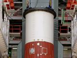 Placement of Nozzle End Segment Module of PSLV-C38 on Launch Pedestal