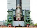 Fully integrated core stage along with strap-ons of PSLV-C38 inside Mobile Service Tower