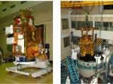Fully integrated Chandrayaan-1 spacecraft (left) and loading it to Thermovac Chamber (right)