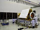RISAT-1 with one of its solar panel wings deployed