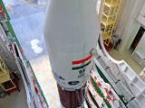 A view of fully assembled PSLV-C20 from the top of Vehicle Assembly Building