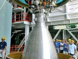 A view of PSLV-C20 second stage liquid engine during vehicle assembly