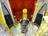 Panoramic view of SARAL (top) and smaller satellites (below) attached to the fourth stage of PSLV-C20