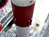 PSLV-C22 GIANT FIRST STAGE WITH SIX STRAP-ONS INSIDE MOBILE SERVICE TOWER
