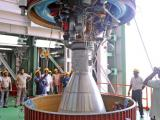 PSLV-C22 SECOND STAGE LIQUID ENGINE BEING LOWERED INTO THE INTERSTAGE