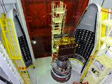 Two Halves Of The PSLV-C22 Heat Shield Enclosing IRNSS-1A Satellite