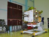 IRNSS-1B at clean room with one of its Solar Panels Deployed