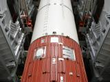 Fully integrated PSLV-C24 Core Stage on the launch platform inside the Mobile Service Towe