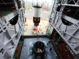 Nozzle End Segment of PSLV-C26 being hoisted for assembly with launch pedestal
