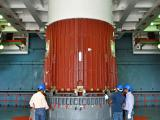 Placement of Nozzle End Segment of PSLV-C27 1st stage over Launch Pedestal in progress