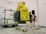 RESOURCESAT-2A in a clean room following its removal from the container