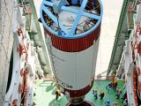 An inside view of PSLV-C36 second stage hoisting inside Mobile Service Tower