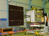 IRNSS-1H at clean room with one of its Solar Panels Deployed