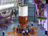 Nozzle End Segment of PSLV-C39 Core Stage being placed on the Mobile Launch Pedestal