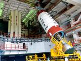 PSLV-C39 Liquid Stage at the Vehicle Assembly Building during Vehicle Integration