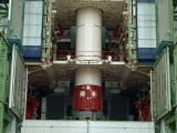 Integration Of PSLV-C29 First Stage Segments In Progress Inside Mobile Service Tower