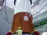 PSLV-C29 First Stage Nozzle End Segment Being Placed On Launch Pedestal