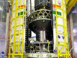 All the 20 Spacecrafts integrated with PSLV-C34 - two halves of the heat shield are seen