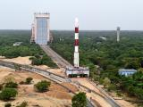 Panoramic View of Fully integrated PSLV-C34 with all the 20 Spacecrafts being moved to second launch pad (SLP)