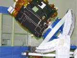 Spacecraft in clean room for Moment of Inertia Measurements