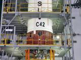 PSLV-C42 second liquid stage at stage preparation facility