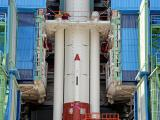 PSLV-C44 Integrated upto First Stage inside Mobile Service Tower