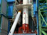 Hoisting of one of the Strap-ons of PSLV-C44 during vehicle integration