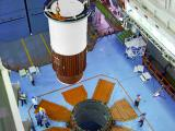 Nozzle end segment of PSLV-C45 Core (First) Stage being lowered on Mobile Launch Pedestal during vehicle integration