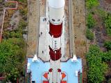 Top view of Fully Integrated PSLV-C45 being carried on Mobile Launch Pedestal to the Umbilical Tower