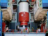 Hoisting of the Nozzle end segment of PSLV-C46 over the launch pedestal