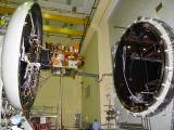 IRNSS-1I being loaded into the Large Space Simulation Chamber for Thermal Vacuum test