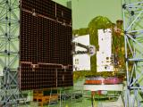 IRNSS-1I at clean room with one of its Solar Panels Deployed