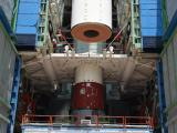 A View of two joined segment of PSLV-C46 Core Stage at Mobile Service Tower