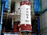 Hoisting of PSLV-C46 second stage during vehicle integration