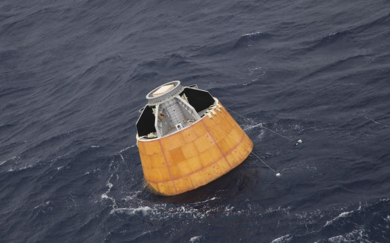 Crew Module floating in the Andaman Sea after splash down